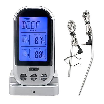 Mando a distancia inalámbrico Digital termómetro de carne dual-probe cocción de alimentos de acero