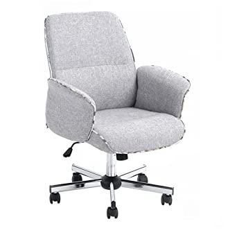 Amazoncom Homycasa Leisure Grey Fabric Home Office Chair Height - Grey office chair