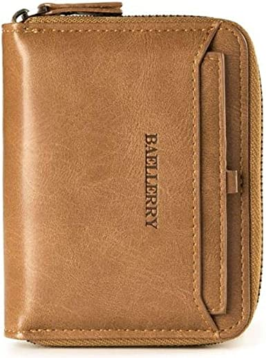 Men/'s Leather Business Wallet with COINS POCKET Zipper Purse new