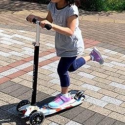 Amazon Eedan 子供向け スクーター 3輪 T バー 調節可能な高さ ハンドル キック スクーター デラックス付き Pu 点滅 ホイール ワイドデッキ 2 14歳以上の男の子 女の子用 グラフィティ Eedan キックボード本体
