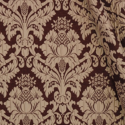 (Eggplant Brown Damask Damask Upholstery Fabric by the yard)