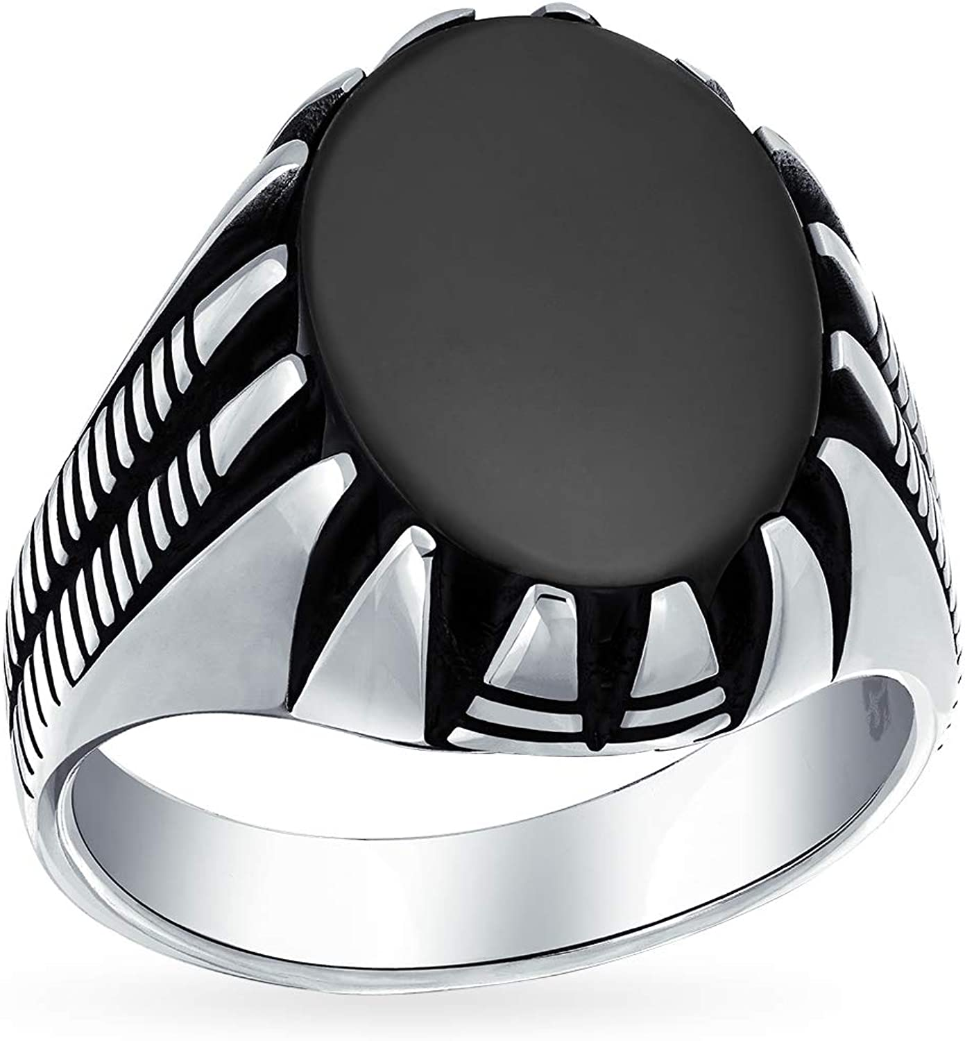 Mens Claw Set Large Oval Cabochon Semi Precious Gemstones Signet Ring For Men Solid Oxidized 925 Silver Handmade In Turkey