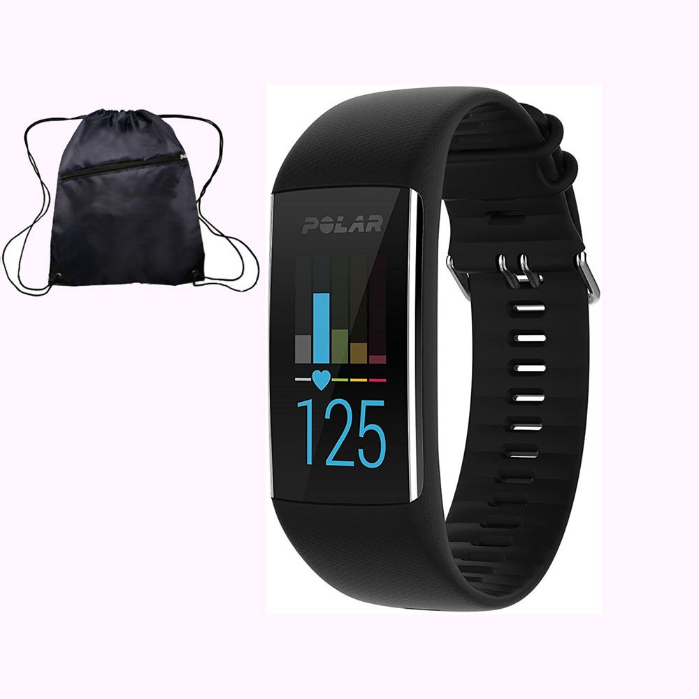 Polar A370 Waterproof GPS Fitness Tracker with Wrist Based HR - Black / Medium-Large w/ Cinch Travel Bag by Polar (Image #1)