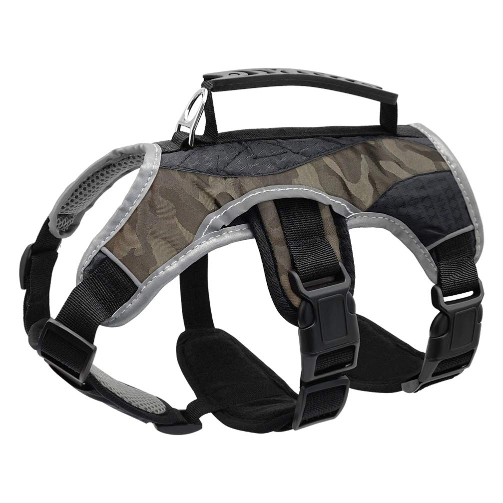 Reflective Dog Harness Large Dogs K9 Halter Harness Pet Mesh Vest With Lift Quick Control Handle For Labrador Husky Walking Gray L by Kuntrona