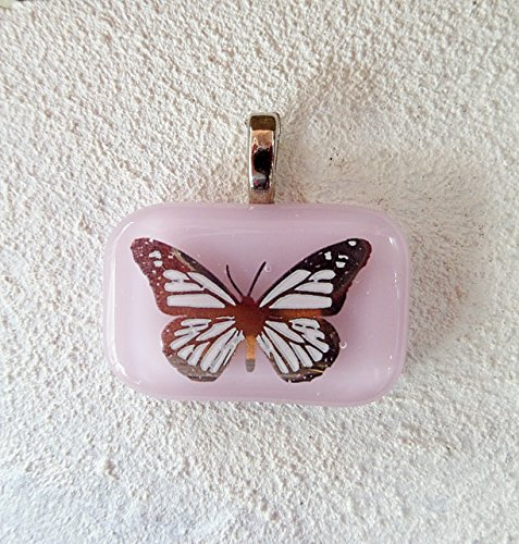 22kt Gold Butterfly on Pink Fused Glass Jewelry Pendant Necklace (Butterfly Fused Glass)