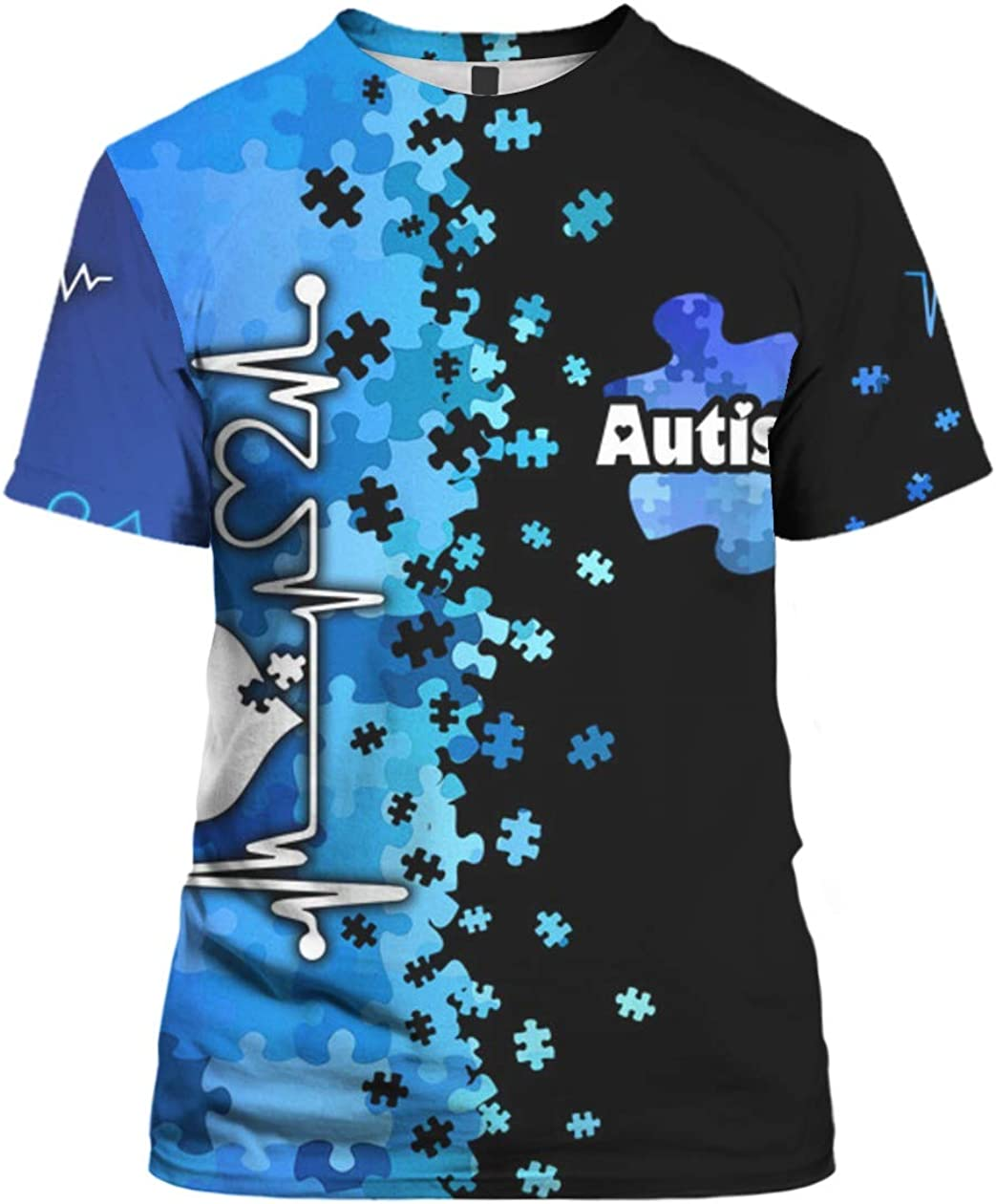 Autism Awareness Blue Heartbeat 3D All Over Sublimation Printing Shirt