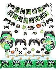 Video Game Party Decoraties, 3 Set Gelukkige verjaardag Gaming Banner, 1 Stks Tafeldoek, 6 Stks Hangende swirls, 10 Stks Cake Topper en 24 Stks Game Themed Ballonnen voor Gamer, Jongens Verjaardagsfeestartikelen