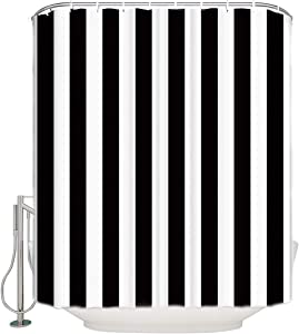 ALAGO Classic Black and White Stripes Theme Shower Curtain Sets for Bathroom Decor Waterproof Polyester Fabric,Ring Hooks Included 72