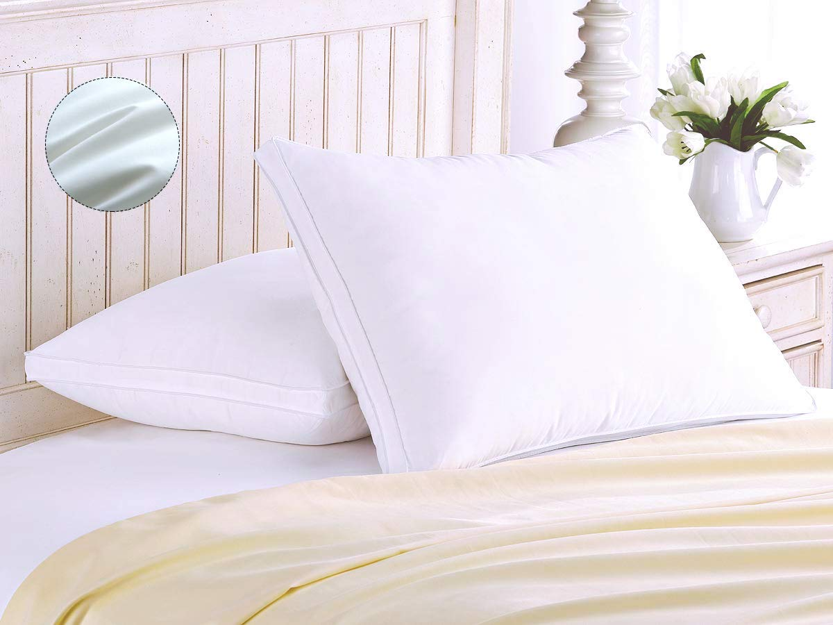 Super Soft Queen Size ,Pack of 2 Long-staple Cotton Pillows for Neck Pain Sufferers, White (74 x 48cm) - New Version