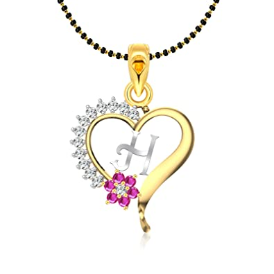 H Letter Images.Vighnaharta Pink Flower Heart Initial H Letter Mspg Cz Gold And Rhodium Plated Alloy Mangalsutra Chain Pendant For Women Vfj1181mspg