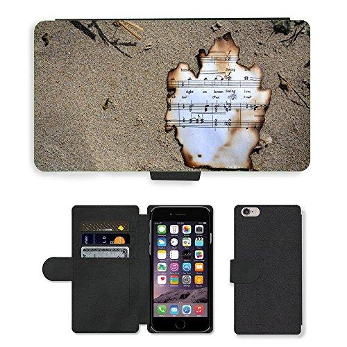 "PU Leather Cover Custodia per // M00421753 Burnt Musique Oregon Cannon Beach Music // Apple iPhone 6 PLUS 5.5"""