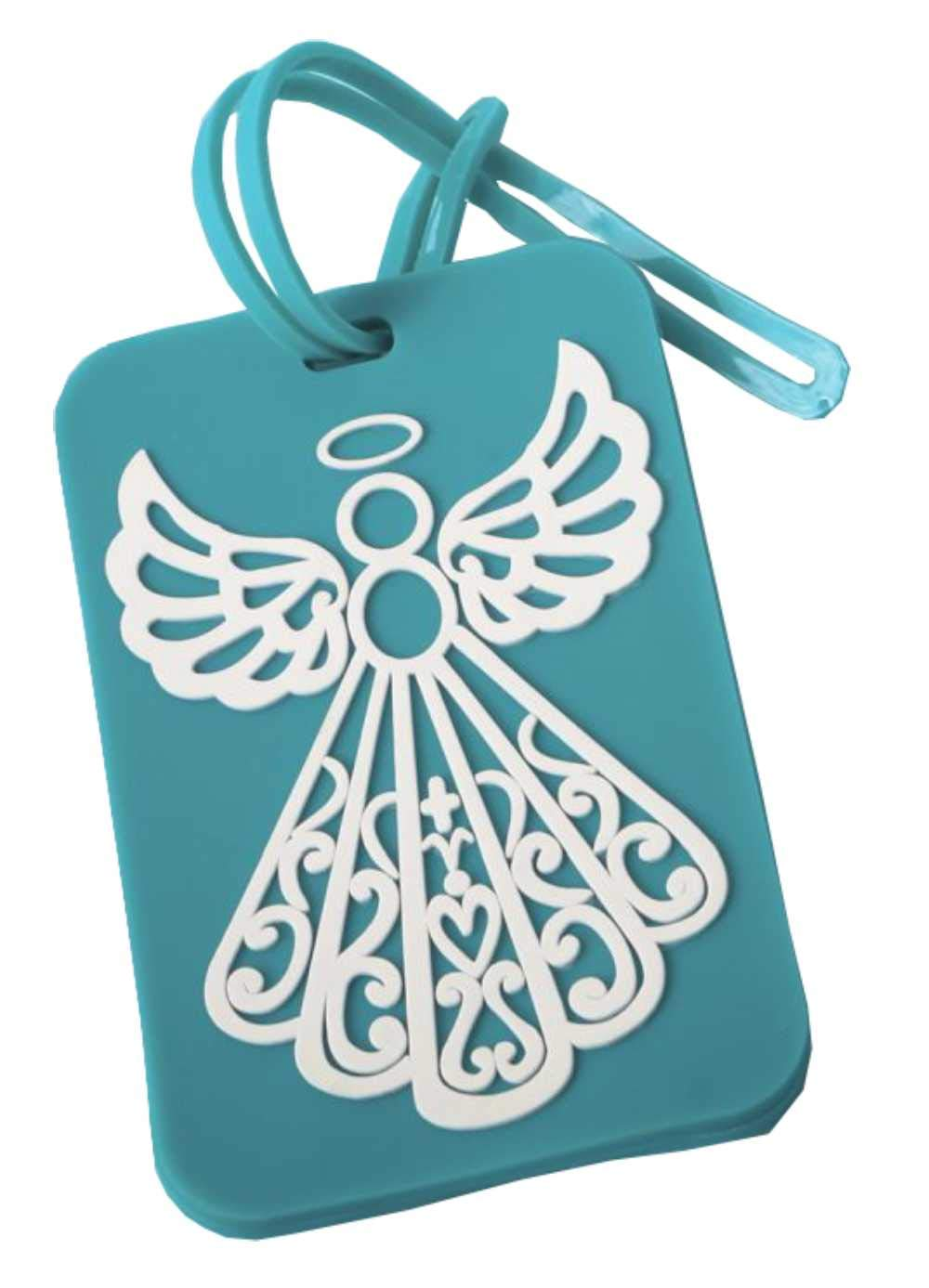 240 Fashioncraft Rubberized Turquoise Angel Design Luggage Tag Baby Shower Christening Baptism Religious Party Souvenir Favors