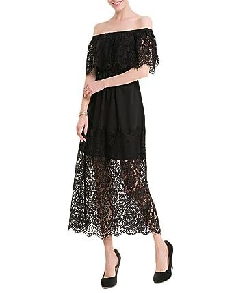 09800f4dc842a Femme Longue Robe de Soirée et de Dentelle Épaule Regard Taille Elastique  Habillée pour Soirée Robes