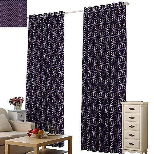 - Beihai1Sun Window Curtain Finished Drapes Geometric Pinwheel Design with Dark Color Palette Abstract Pattern Winter Motifs Mauve Lavander Purple Living Room Wedding Bedroom W72 x H84
