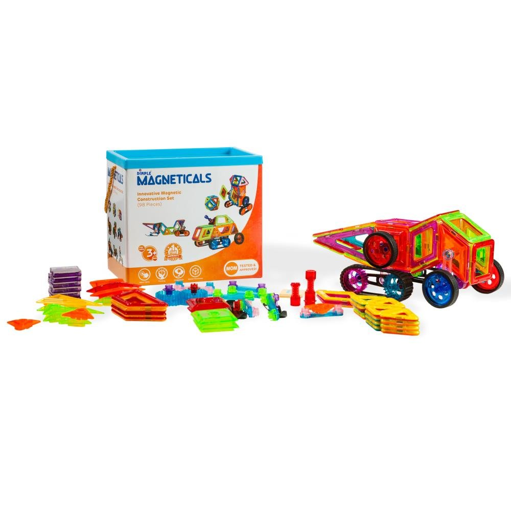 Magneticals Magnet Toys Tile Set (98-Piece Set) Stack, Create and Learn Promote Early Learning, Creativity, Imagination Magnetic Building Toys for Kids, Top-Rated Perfect Toy for Boys and Girls