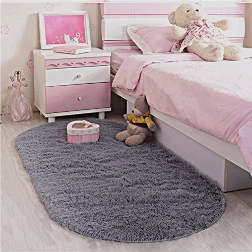 LOCHAS Ultra Soft Children Rugs Room Mat Modern Shaggy Area Rugs Home Decor 2.6' X 5.3', Gray (Kids Rugs Shag)