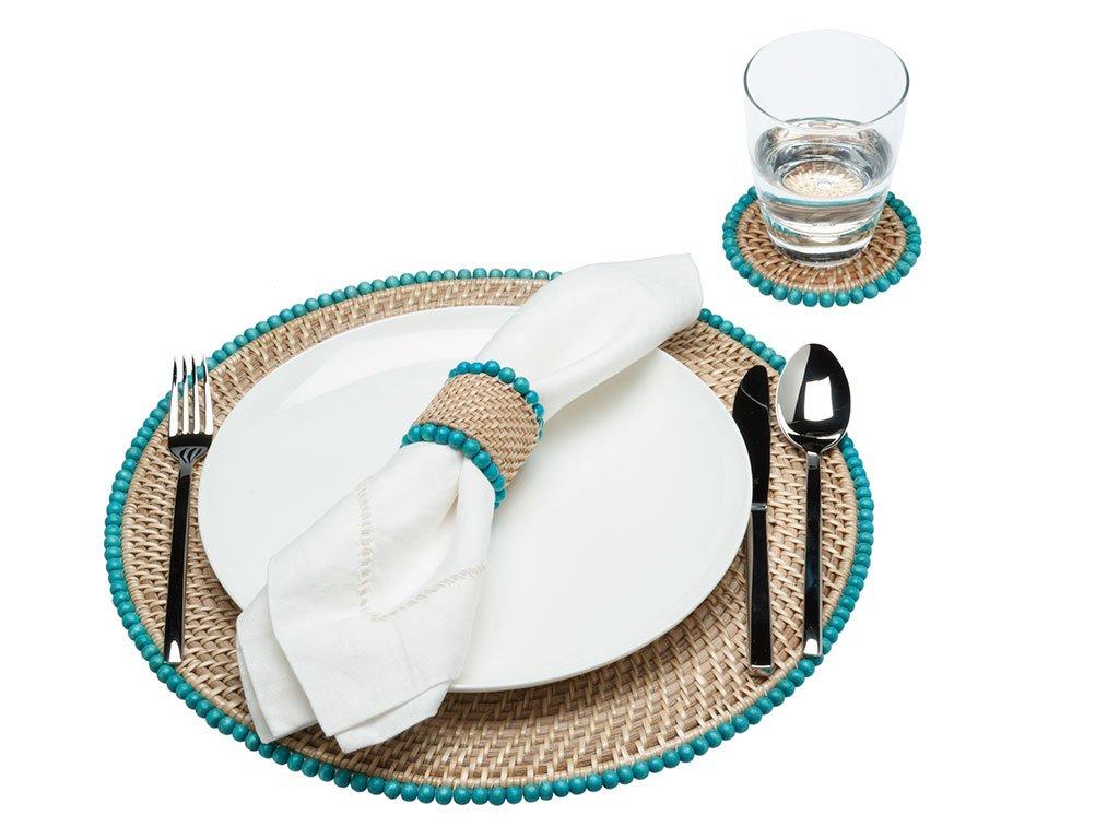 Turquoise//Beige 4.25 x 4.25 x 0.37 4.25 x 4.25 x 0.37 KOUBOO 1010061 Round Rattan Coasters with Wood Beads Set of 4