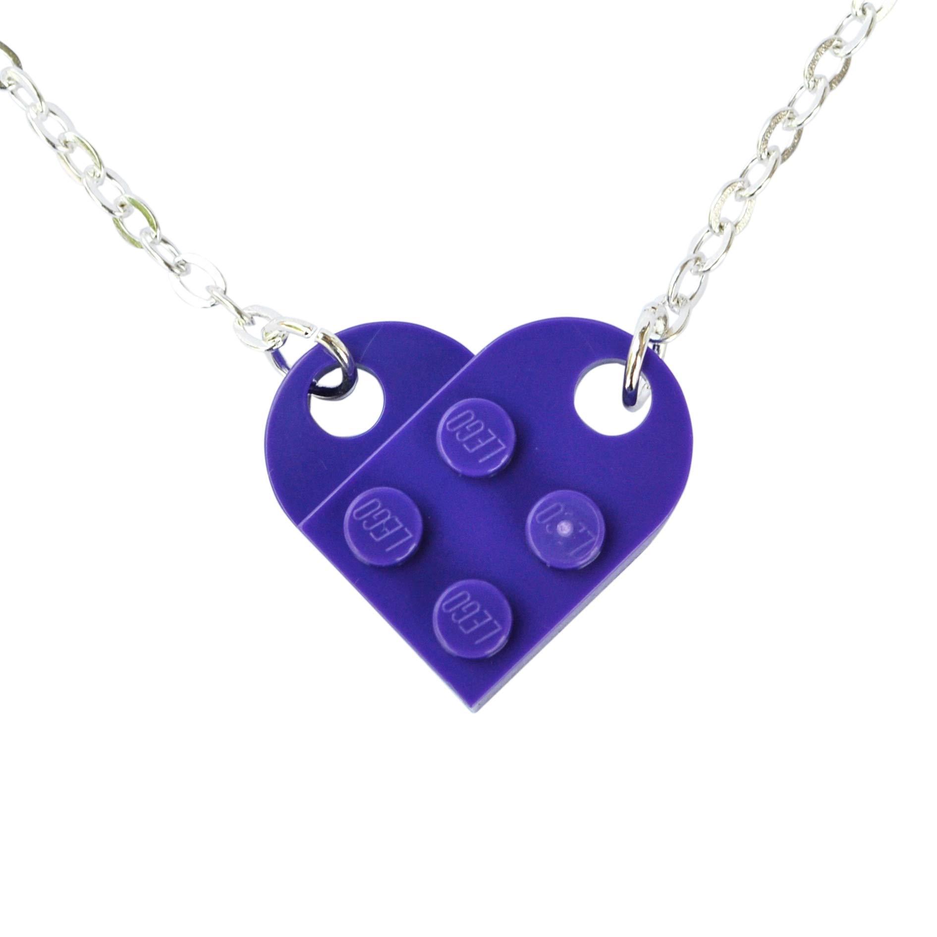 Love Heart Necklace Handmade from Lego® Plates (Purple) Wedding, Girlfriend, Valentines, Birthday, Ladies Jewellery Gift