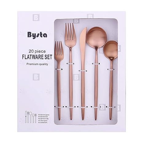 Amazon.com: Bysta Juego de cubiertos de acero inoxidable de ...
