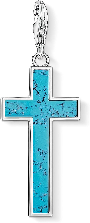 Thomas Sabo Colgante Charm Cruz turquesa Club de Mujer, Plata de Ley 925, Azul