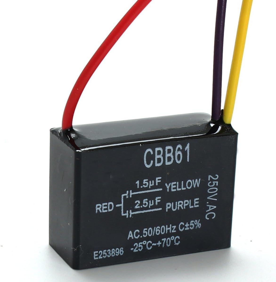 MYAMIA Cbb61 1.5 Uf + 2.5 Uf 3 Alambre 250Vac Ventilador De Techo Condensador 3 Cables