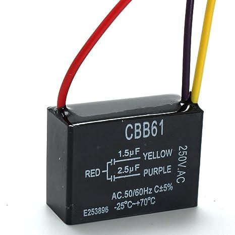 LaDicha Cbb61 1.5 Uf + 2,5 Uf 3 Alambre 250Vac Ventilador De Techo Condensador