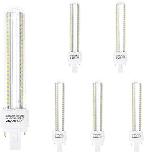 Aigostar 183653 - pack de 5 Bombilla PLC 2U, tubo de15 W, Luz fría 6400K.: Amazon.es: Iluminación