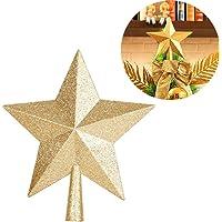Milopon Noel ağacı yıldız Noel yıldızı yıldız Noel ağacı tepe süsü Ağaç tepesi Spitze Ağaç Süsü Noel Ağacı altın, PVC…