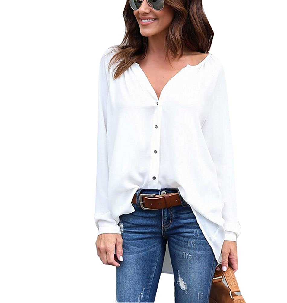 1dc3fd257 Feature:Unsnap button can also be cardigan, Cuffs Sleeve, Gathered Split  Neckline, Button Down Shirt Long Sleeve, Solid Color Blouse Top