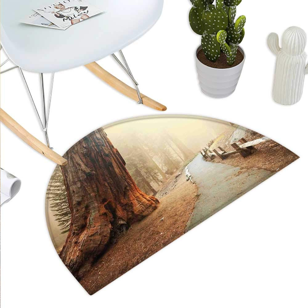 color08 H 27.5\ Landscape Semicircle Doormat Forest with Serene Giant Tree Body in The Foggy Forest Yosemite Mist Woodland Print Halfmoon doormats H 27.5  xD 41.3  Brown