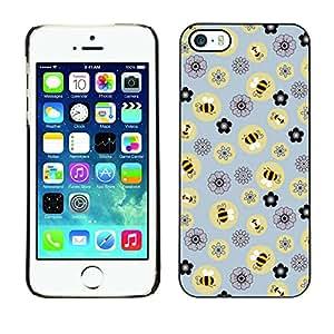Cubierta de la caja de protección la piel dura para el Apple iPhone 5 / 5S - bee flowers pattern yellow