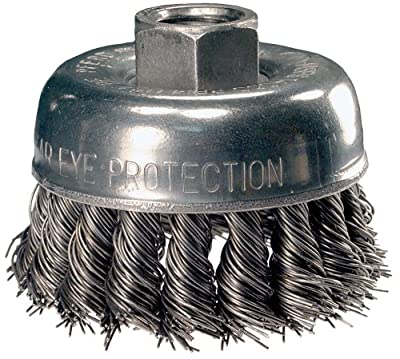 "PFERD 82220P Single Row Power Knot Wire Cup Brush with Standard Twist and External Nut, Threaded Hole, Carbon Steel Bristles, 2-3/4"" Diameter, 0.020"" Wire Size, 5/8""-11 Thread, 14000 Maximum RPM, 18 Knots (Retail Pack of 5)"