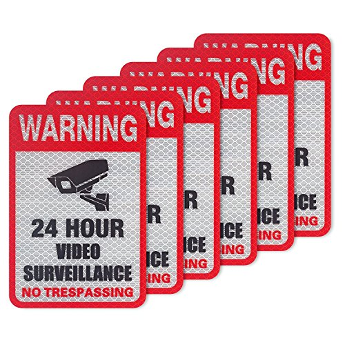 (Kichwit 6-Pack Video Surveillance Sign Reflective Sticker Decal Self Adhesive 5.9