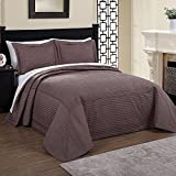 U.A.A. INC. 1pc 96 x 110 Parisian French Tile Oversized Taupe Brown Full Bedspread Floor, Drapes Drops Down Sides, Cotton Polyester, Extra Long Floral Bedding Xtra Wide Hangs Over Edge Bed Frame