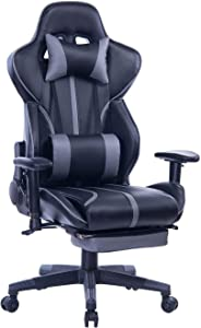 Blue Whale Gaming Chair PC Computer Game Chair with Footrest Racing Gamer Chair Ergonomic Office Chair High-Back PU Leather Computer Desk Chair with Lumbar Cushion and Headrest (GM039Grey-2)