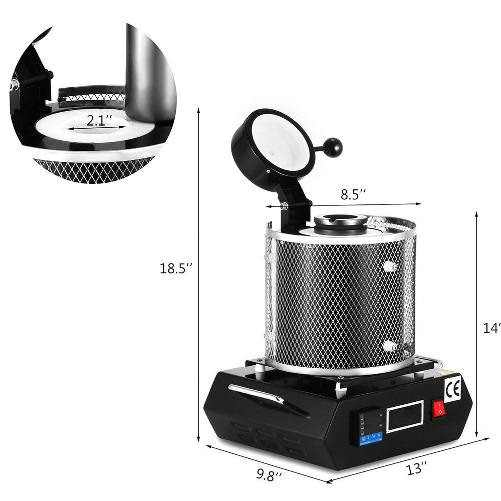 Black 2kg Digital Automatic Melting Furnace for Melt Scrap Silver Gold Copper Jewelry 110V+Graphite Crucible Tong
