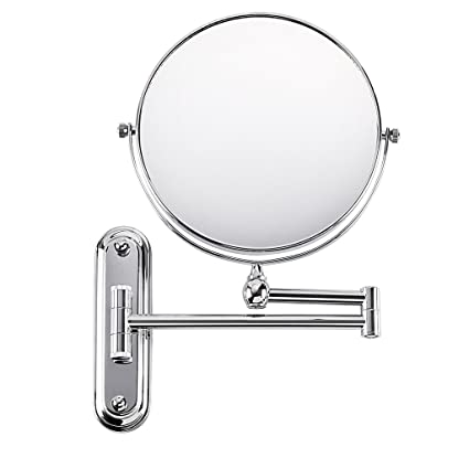 Beauty & Health High Quality 8 Inch Stainless Steel Wall Mounted Extending Folding Double Side 5x Magnification Mirror For Bathroom