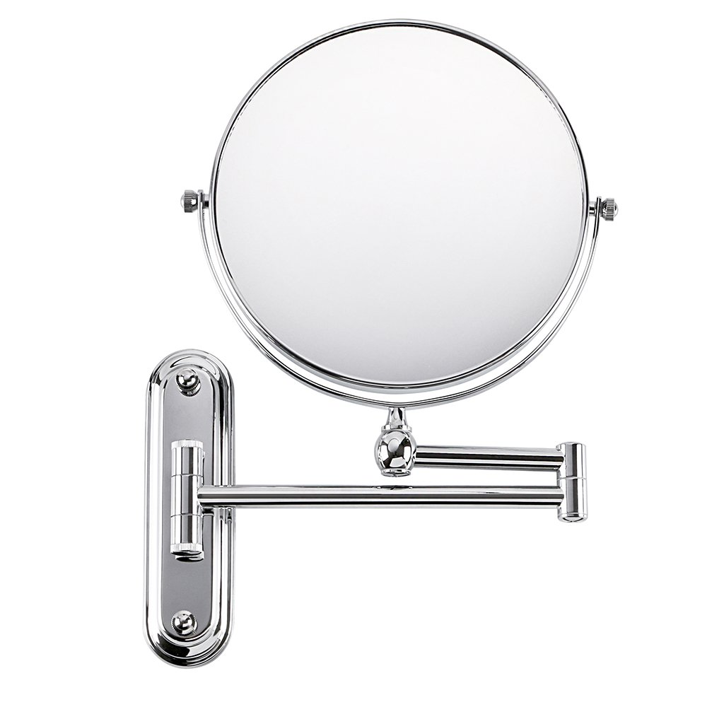 Sumnacon Vanity Mirror 360 Degree Swivel Wall Mounted, 8 Inch Two-Sided 12 Inch Extension Folding Make Up Mirror With Chrome Finish For Bathroom Bedroom(10 x Magnification)