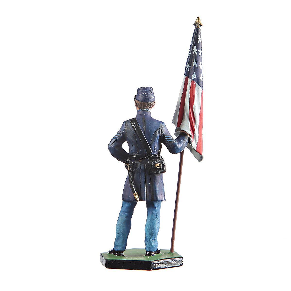 danila-souvenirs Tin Toy Soldier USA Civil war Northerners Standard Bearer Hand Painted Metal Sculpture Miniature Figurine 54mm #CW02 danila2k2