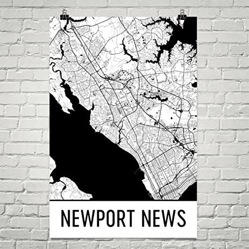 Map Wall Art City maps Artwork Newport News map print Virginia gifts Scandinavian wall art poster M135
