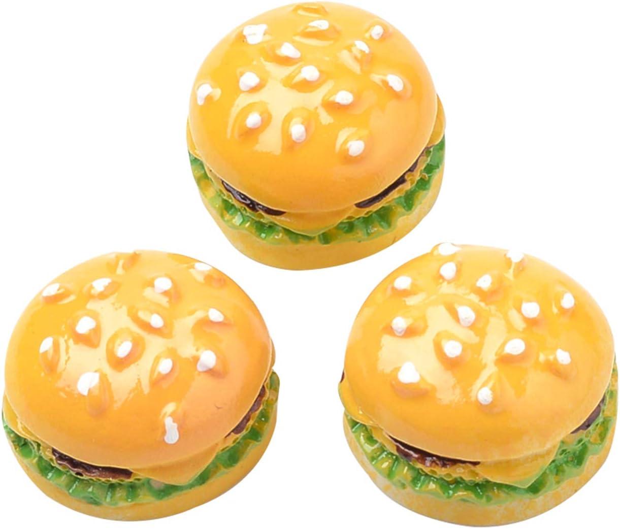 Airssory 10 Pcs Resin Flatback Slime Charm Cabochons Simulation Creative Cute Artificial Fake Bread Hamburger Miniature Mini Food Miniature Models DIY Dollhouse Accessories Party Favors - 16~17mm
