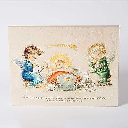 Angelitos Con Niño Jesús Y Oraciónangel De La Guarda 30x40cm