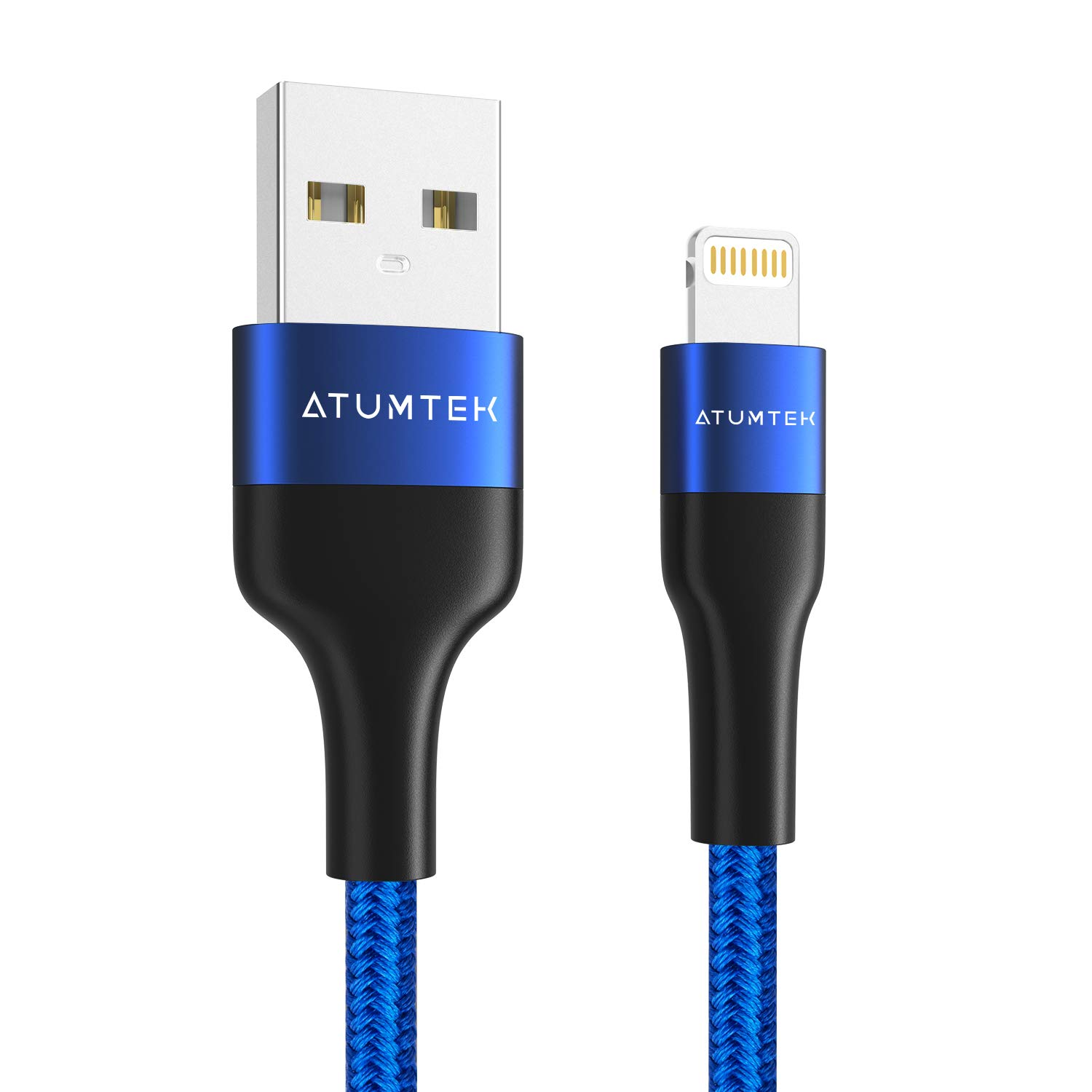 ATUMTEK iPhone Charger Cable [Apple MFi Certified] 3M/10ft Lightning to USB Cable Nylon Braided Charging Cable for New AirPods, iPhone 11/11 Pro/XS Max/XS/XR/X/8/7/6s/6 Plus, iPad and iPod - Blue