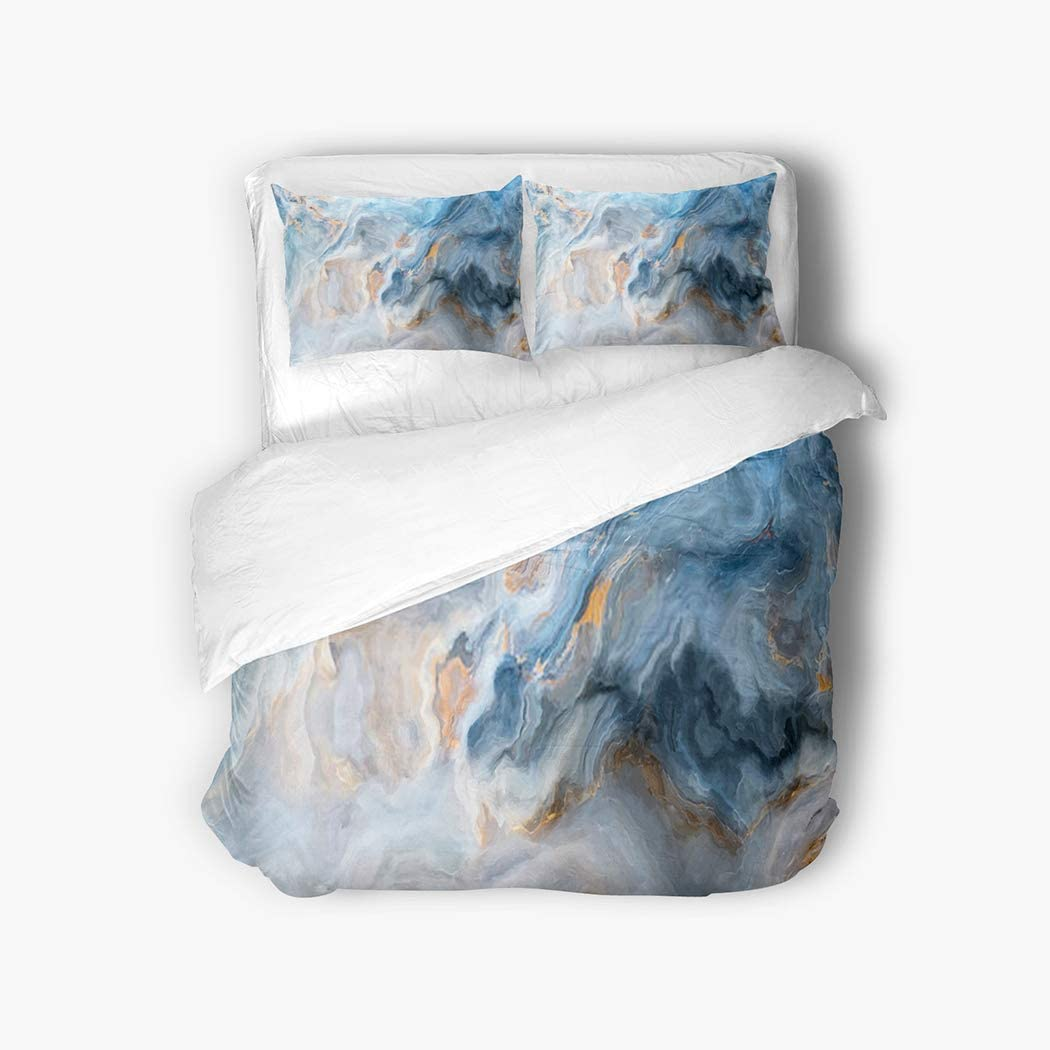 Qewhyn 3pc Duvet Cover Blue Marble Stone Brown Onyx Nature Abstract Floor Granite Rock Vein Queen Brushed Microfiber Bedding Quilt Soft Breathable Belt Zipper Closure & Corner Tie