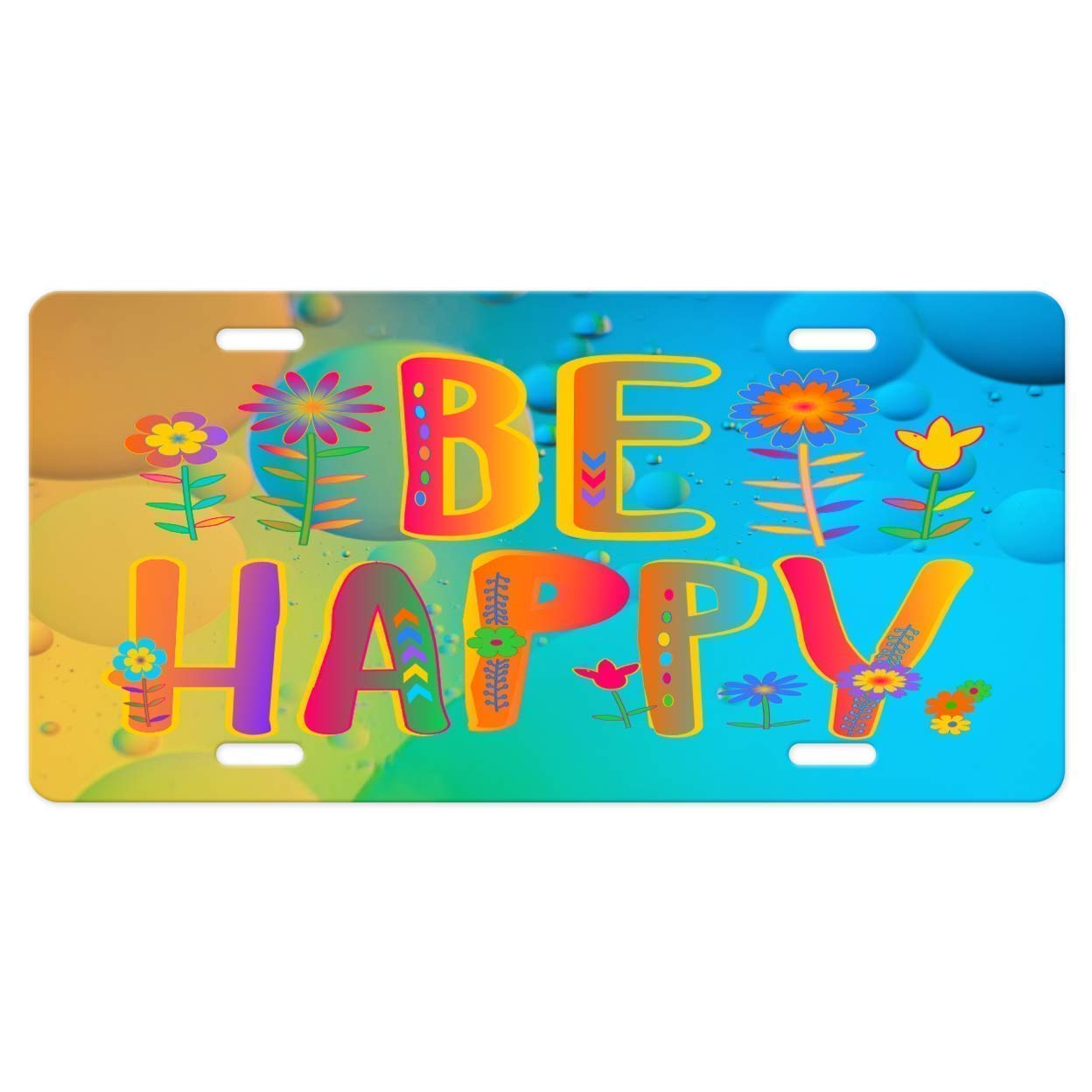Be Happy Quote in Fun Colorful Vivid colors on a Fun Colorful Bubbles YELLOW AND BLUE background metal Vanity Car License Plate Tag