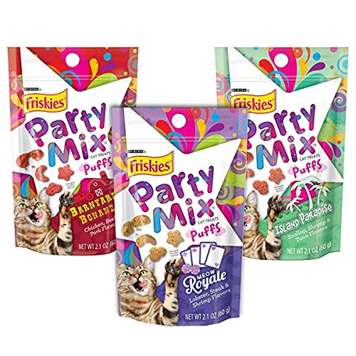 Friskies-Treats-Party-Mix-Puffs-Variety-Bundle-Barnyard-Bonanza-Island-Paradise-and-Meow-Royale-Flavor-Cat-Treats-21-Ounce