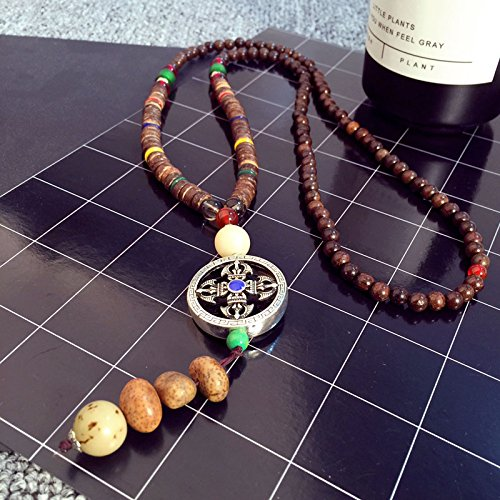 Instruments used in Tibetan folk style retro sweater chain wood beads wood necklace pendant personalized numb long section accessories lovers pendant