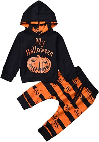 Halloween Baby Boy Girl Outfit My First Halloween Pumpkin Hoodie Romper Bodysuit One-Piece Jumpsuit