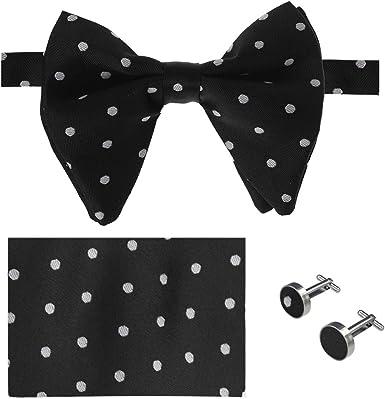 Black with white spots cotton fabric. Cummerbund Bow Tie and Pocket Square Set