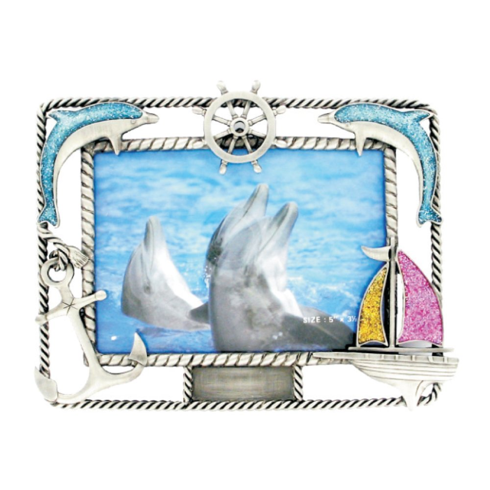 Rockin Gear Picture Frame - Nautical Dolphins Pewter Souvenir Picture Frame - Holds 4